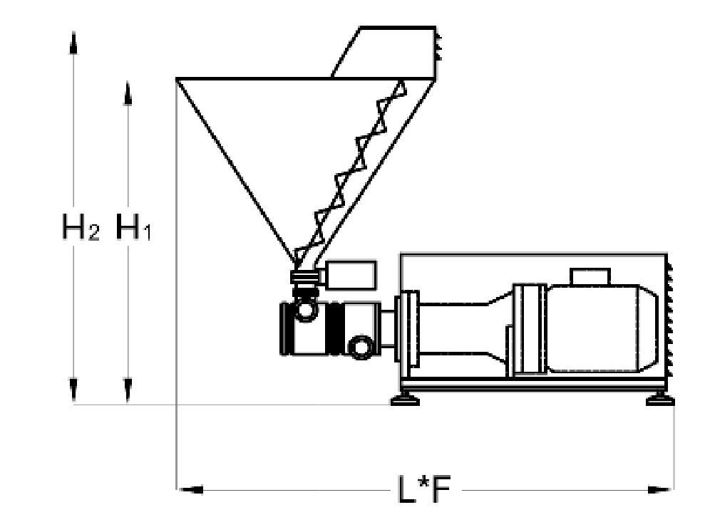Miscelatore in linea solido-liquido con aggiunta diretta del solido alla testa del miscelatore