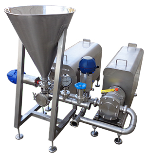 In line mixer solid-liquid for high viscosity